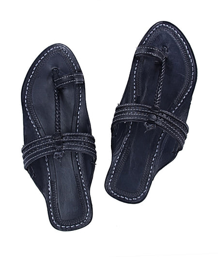 Women Hand Crafted Blue Kolhapuri Chappal