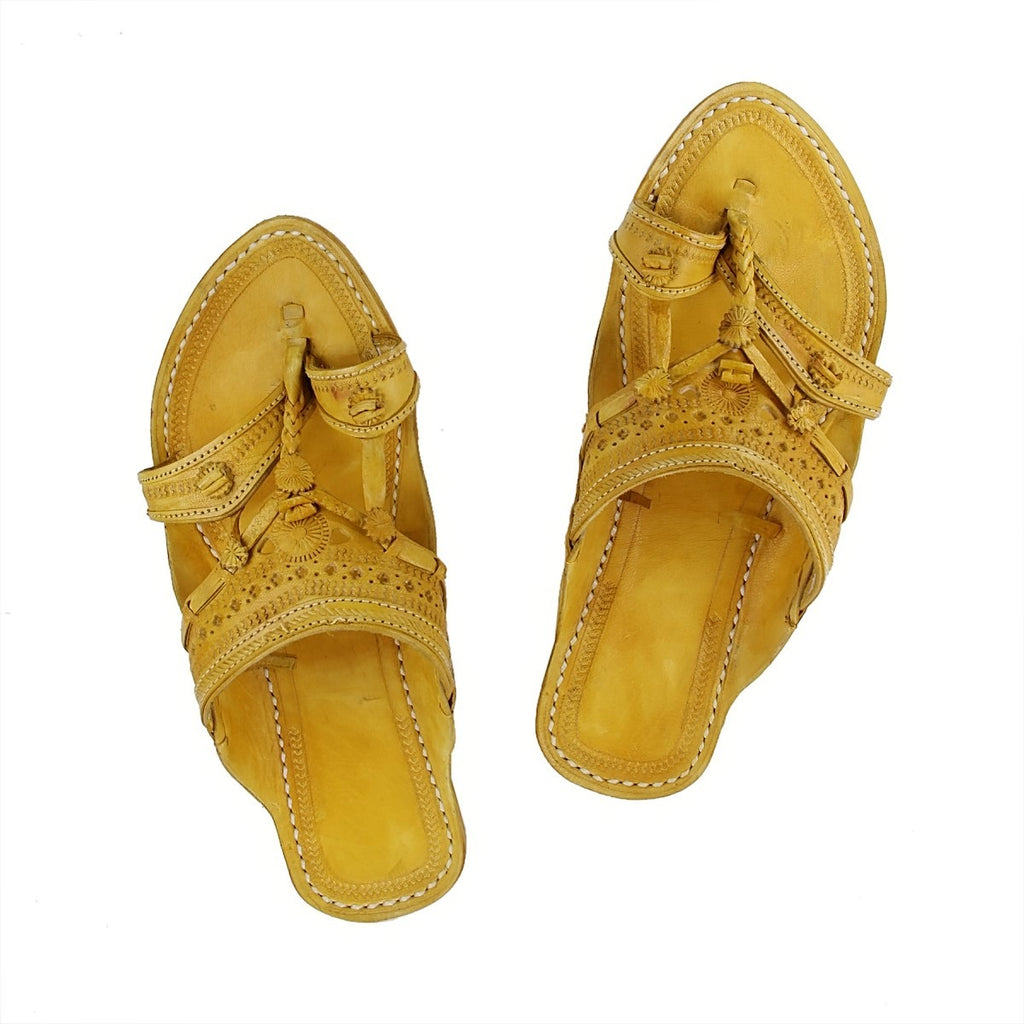 Hand Crafted Yellow Kolhapuri Chappal For Women