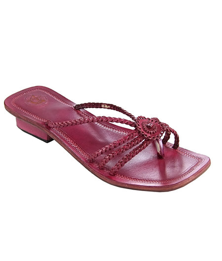 Hand Crafted Pink Kolhapuri Chappal For Women