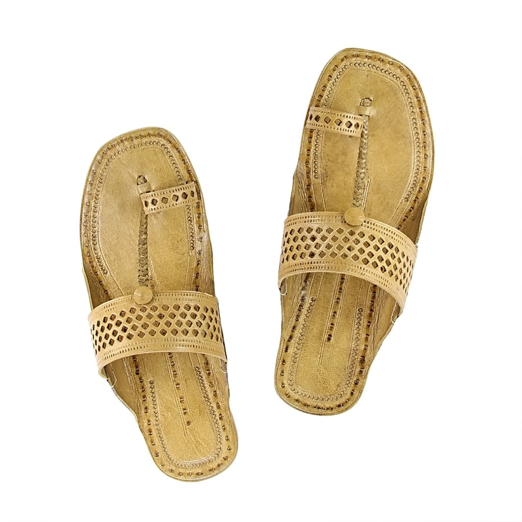 Hand Crafted Tan Kolhapuri Chappal For Women