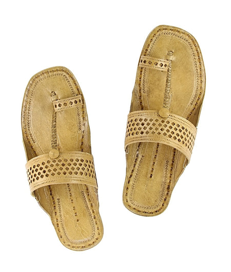 Women Hand Crafted Tan Kolhapuri Chappal