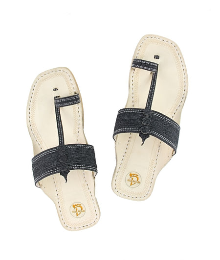 Women Hand Crafted Black Kolhapuri Chappal