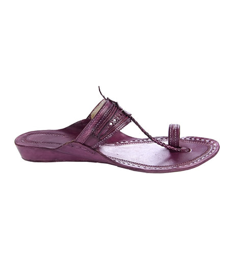 Women Hand Crafted Purple Kolhapuri Chappal