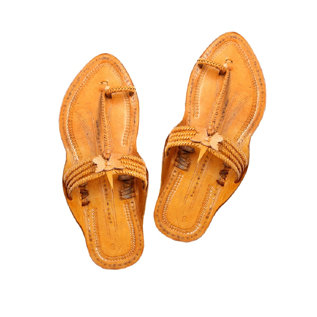 Women Handcrafted Yellow Kolhapuri Chappal