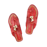 Women Handcrafted Cherry Red Kolhapuri Chappal
