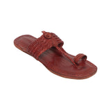 Women Handcrafted Red Brown Kolhapuri Chappal