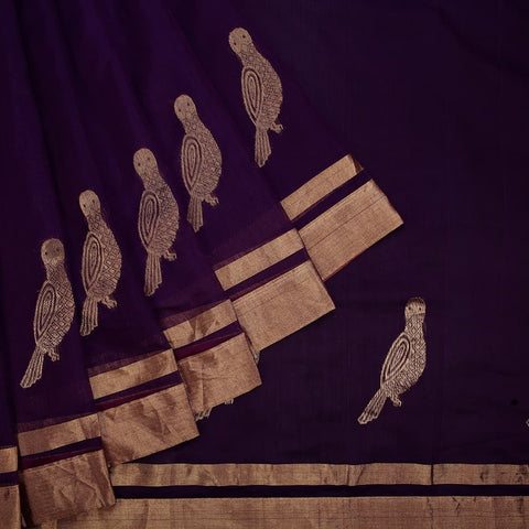 chanderi handwoven chanderi silk purple parrot Saree