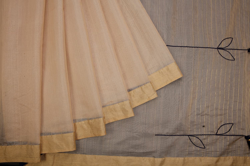 chanderi handwoven chanderi silk beige plain Saree
