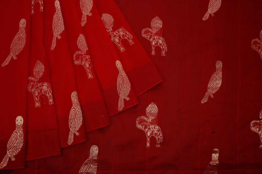 chanderi handwoven chanderi silk red parrot and elephant Saree
