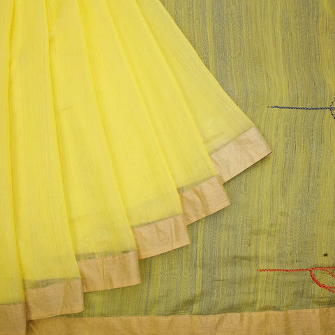 chanderi handwoven chanderi silk lemon yellow plain Saree
