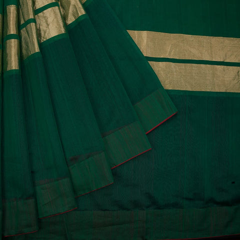 chanderi handwoven chanderi silk dark green plain Saree