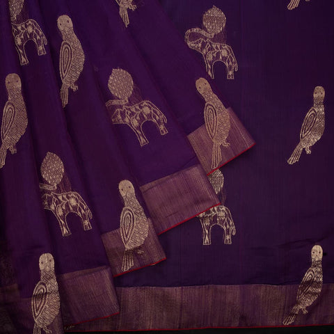 chanderi handwoven chanderi silk purple parrot and elephant Saree