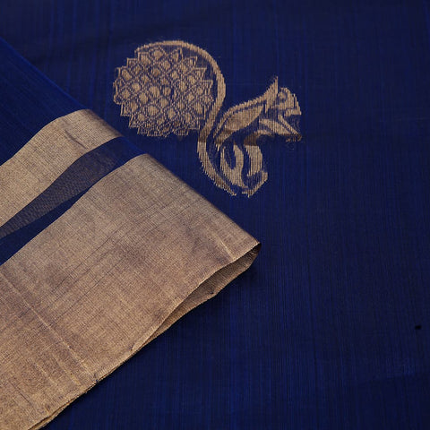 chanderi handwoven chanderi silk blue squirrel Saree
