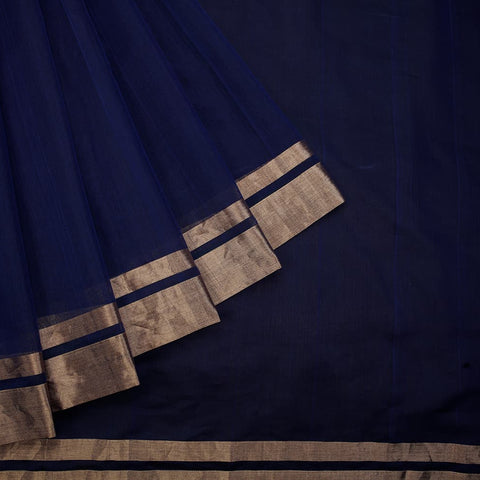 chanderi handwoven chanderi silk dark blue plain Saree