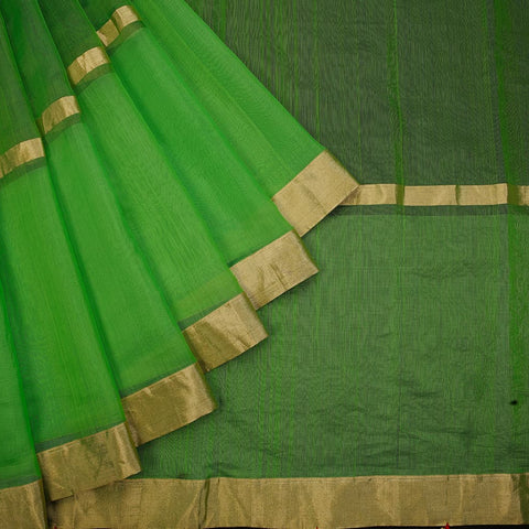 chanderi handwoven chanderi silk green plain Saree