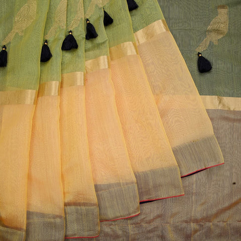 chanderi handwoven chanderi silk multicolor tri color stripes with tassels Saree