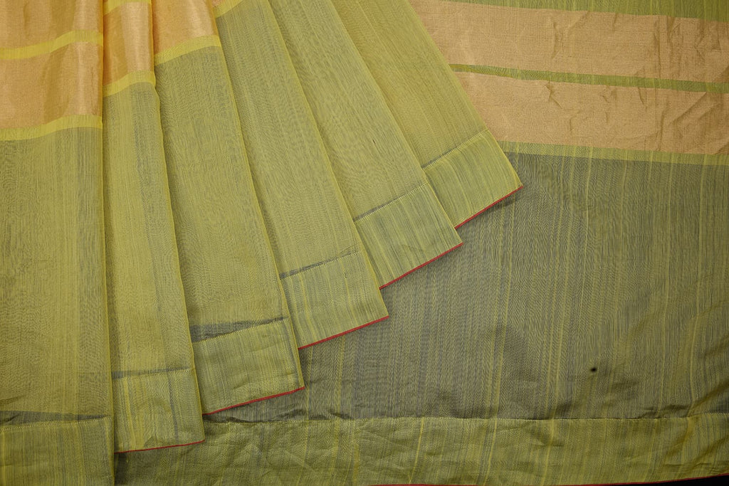 chanderi handwoven chanderi silk green and yellow plain Saree