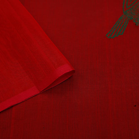 chanderi handwoven chanderi silk red parrot Saree