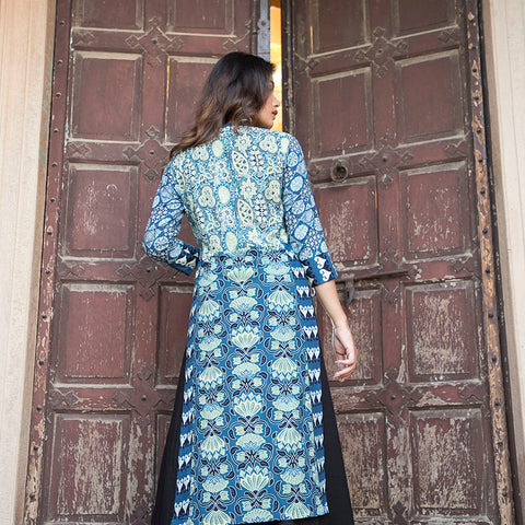Indigo Ajrak Floor Length Dress