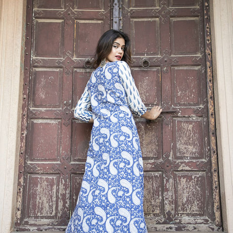 White and Blue High Low Kurta