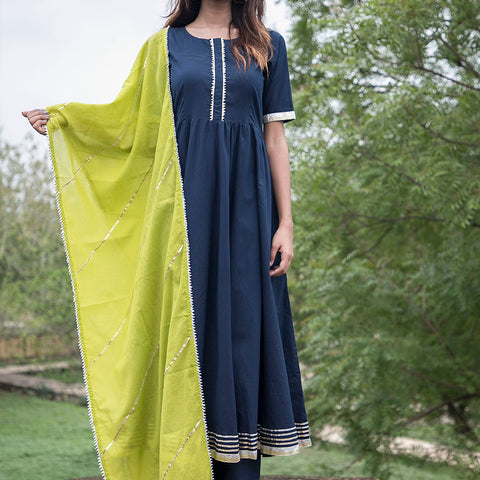 Navy Blue Gherdar Gota Suit Set