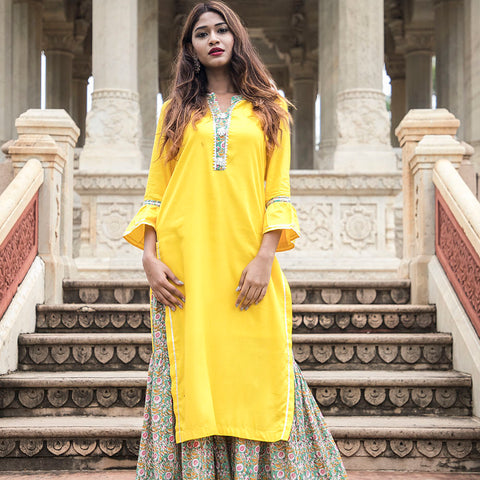 Yellow Gota Kurta with Handblock garara
