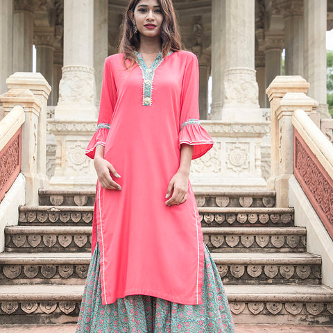 Peach Kurta with Handblock Garara