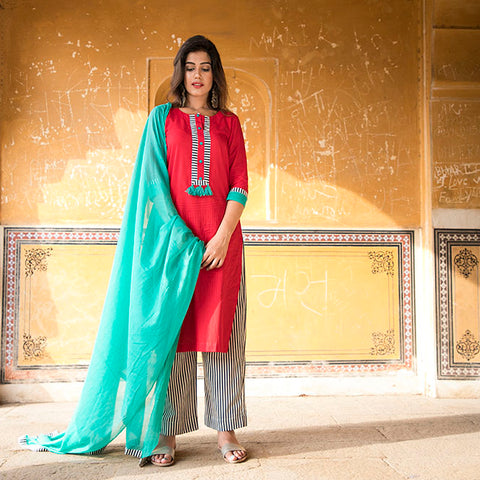 Red kurta with striped palazzo