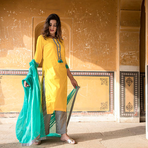 Yellow Kurta with striped palazzo