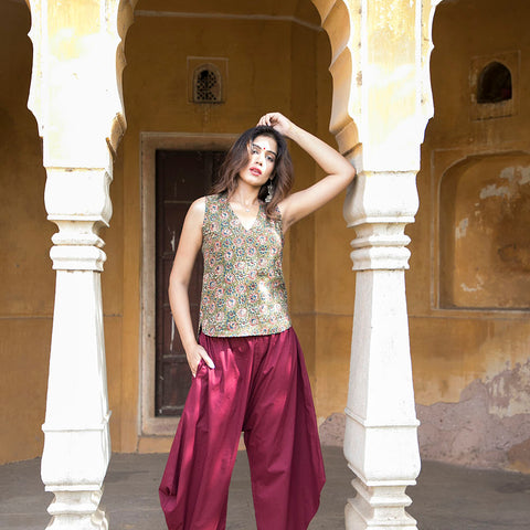 Maroon Afghani with printed top