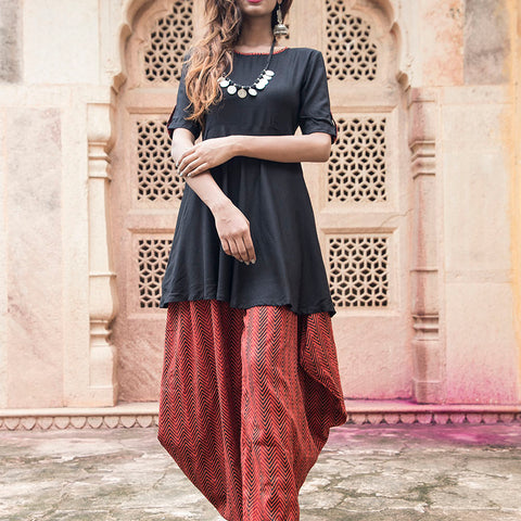 Black top with Afghani Salwar