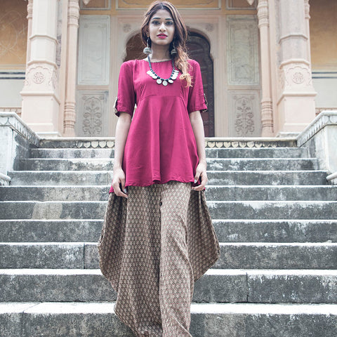 Maroon top with Afghani Salwar