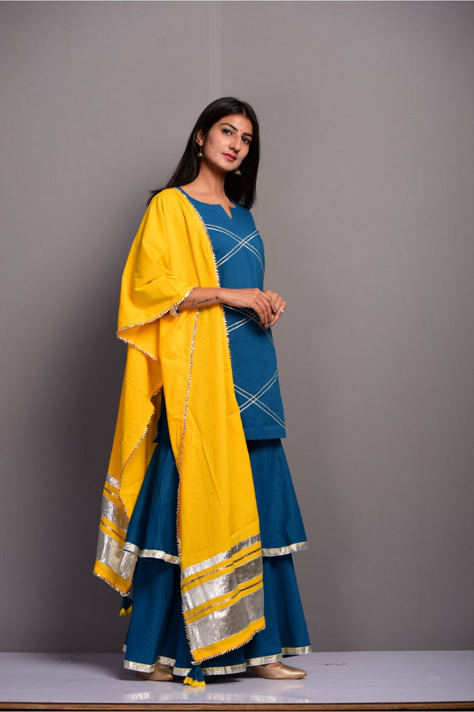 Solid Cobalt Blue Cotton Kurta Ghagara Dupatta Set