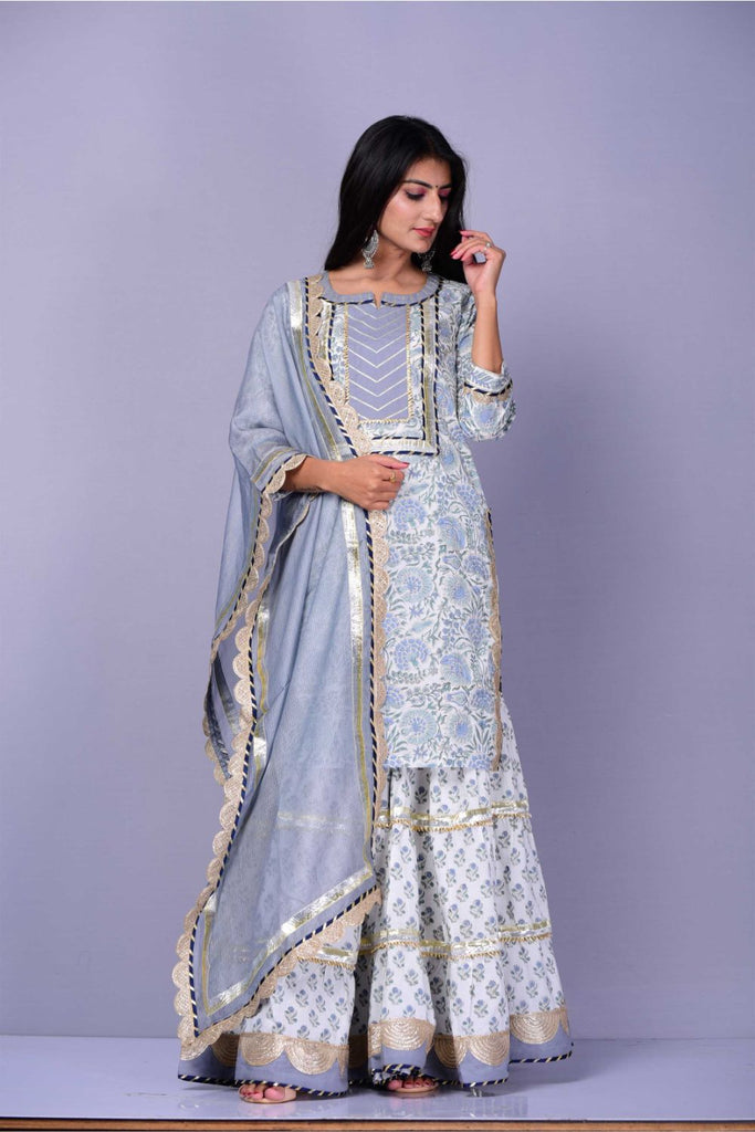 Hand Block Grey Cotton Kurta Sharara Dupatta Set