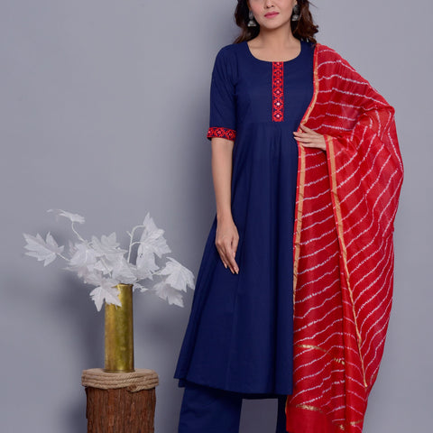 Solid Navy Blue Cotton Kurta Pant Dupatta Set