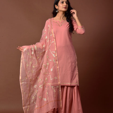 Solid Dried Rose Cotton Kurta Ghagara Dupatta Set