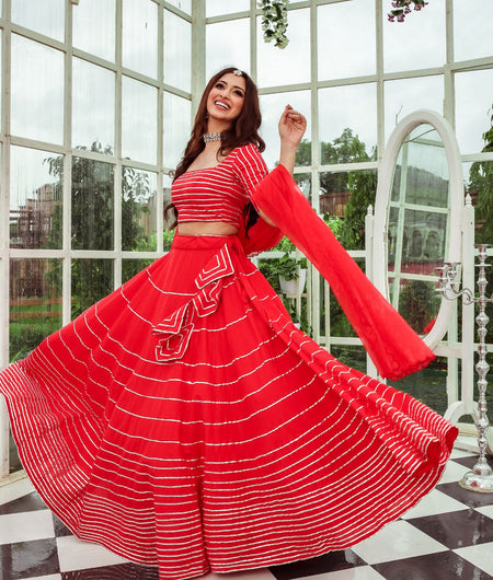 Solid Red Cotton Lehenga Set
