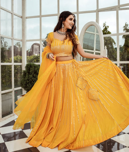 Solid Yellow Cotton Lehenga Set