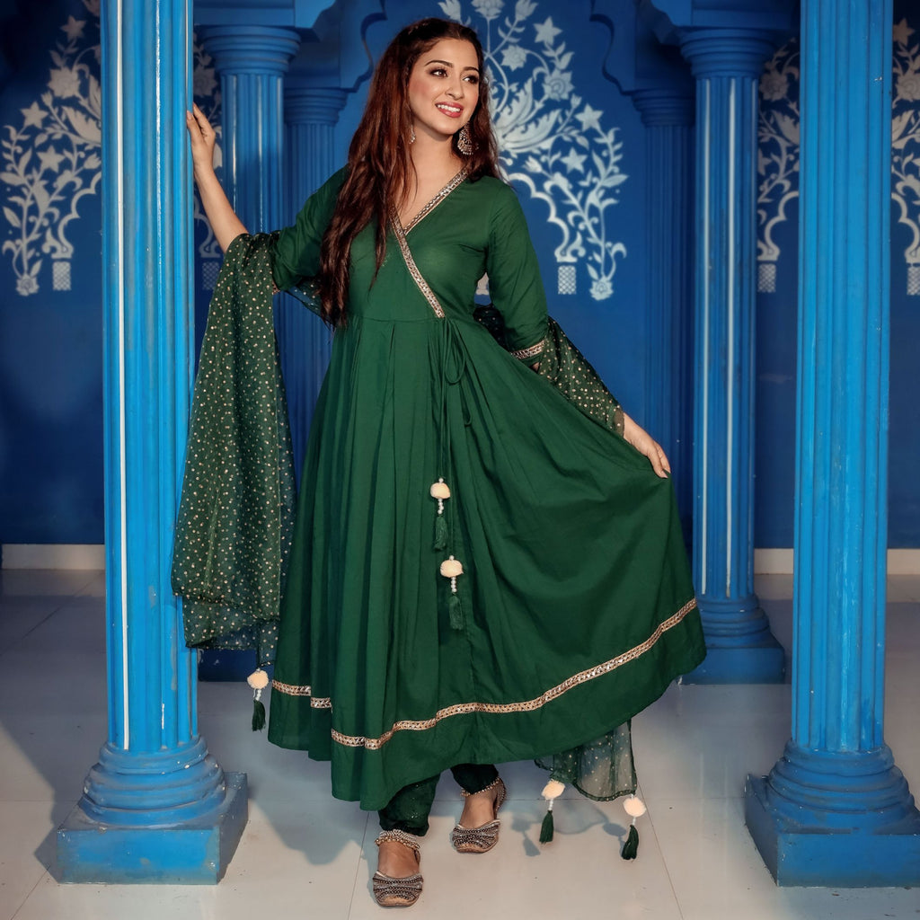 Solid Green Cotton Kurta Pant Dupatta Set