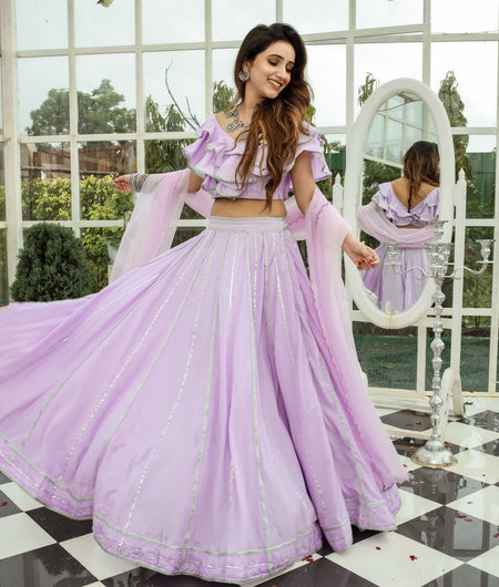 Solid Purple Cotton Lehenga Set
