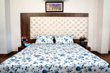Hand Block Blue Bed Cover with Pillow Cases