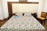 Hand Block Green Red Bed Cover with Pillow Cases