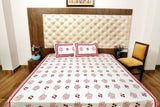 Hand Block White base pink blocks Bed Cover with Pillow Cases