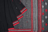 Bengal khadi handwoven black plain Saree