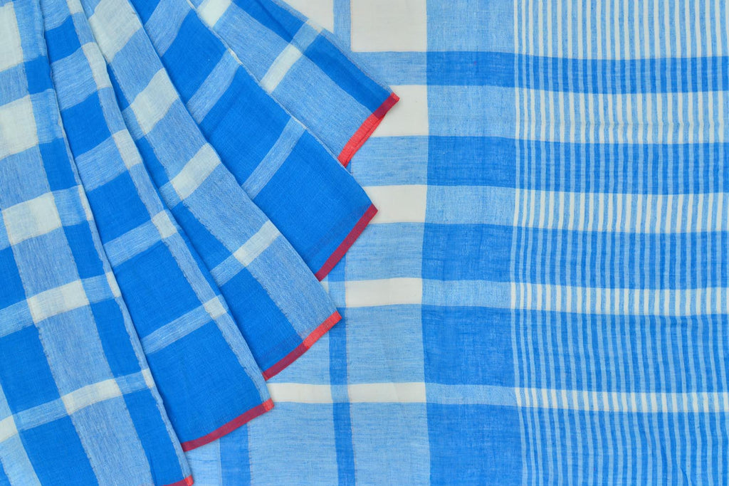Bengal khadi handwoven dark blue checks Saree