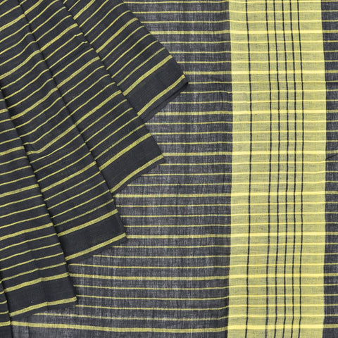 Bengal khadi handwoven black and yellow stripes Saree