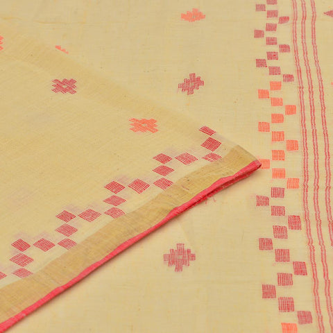 Bengal khadi handwoven beige multicolor floral butti Saree