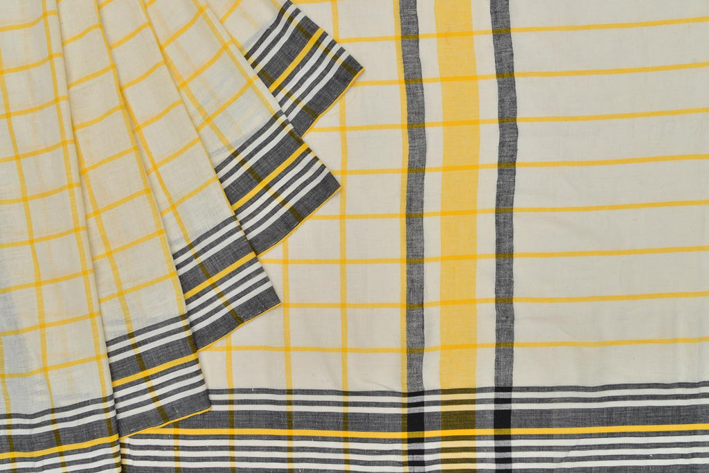 Bengal khadi handwoven black and white checks Saree
