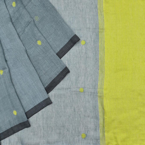 Bengal silk linen handwoven grey yellow polka dots Saree