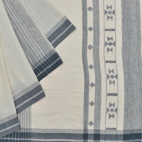 Bengal khadi handwoven grey plain with grey stripes Saree